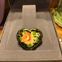 Beautiful! Heart shaped painted Pin/Brooch Gainesville, 20155