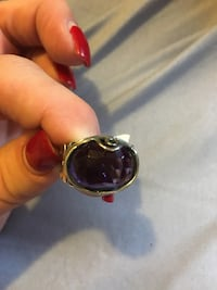 Genuine Amethyst and stamped 925 silver band