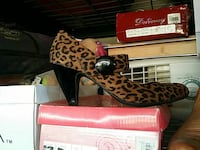 unpaired brown and black leopard pattern closed-toe mary jane shoe