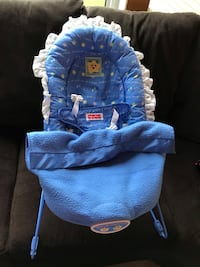 Blue and white fisher-price bouncer seat