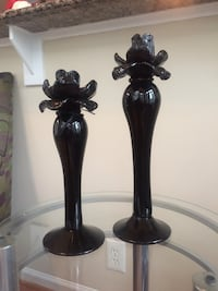 Black Glass Flower Candlestick Set Laurel