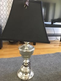 Stainless steel base white shade table lamp Montreal
