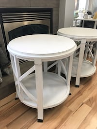 two white wooden round side table