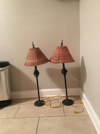 two black metal base brown shade table lamps New Orleans, 70124