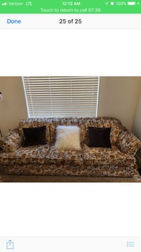 brown and white floral fabric sofa 2346 mi