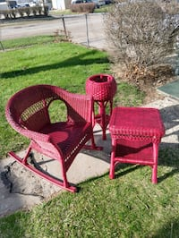 two red wicker armchairs with table Des Moines, 50317
