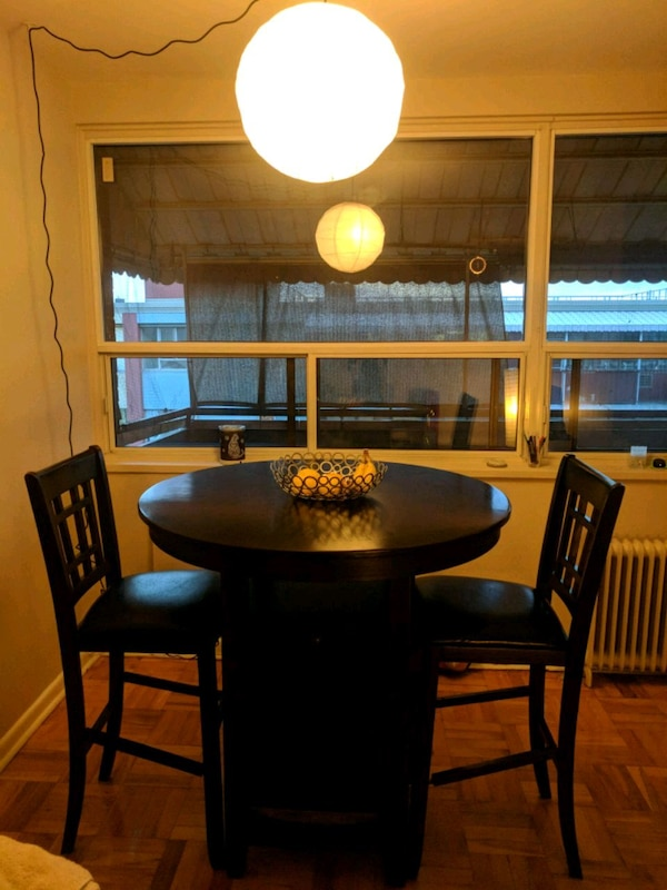Dark Stain Martini Table with 2 Chairs