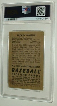 Baseball Mickey Mantle #101 PSA 2 1952s Card