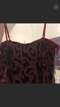 Red  dress with Crystal and silver trim. Black lace top Haskell, 74436