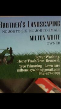 Brother's Landscaping by Milton White book Pearland, 77584