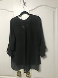 Grey Sheer Button Up Shirt Blouse Vaughan