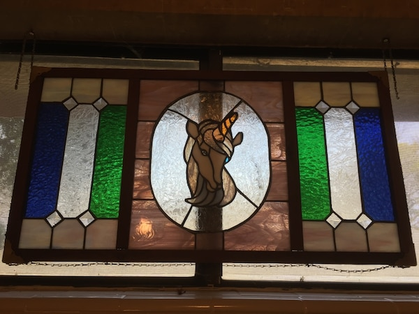 Stained Gl Window Hanging Roximately 2 5 Feet Long By 1 Wide Has Chain For Unicorn Pattern