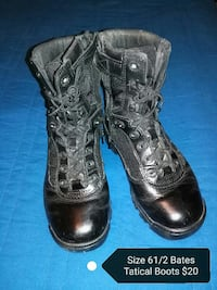pair of size 61/2 black Bates leather tactical boots LaFayette, 30728