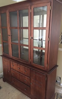 Best Offer  Must go. Excellent condition! Two piece wood hutch cabinet Brampton, L6Z