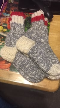 two pairs of gray-and-beige knit socks Edmonton, T6H 0L4