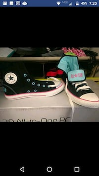 Blue and pink converse