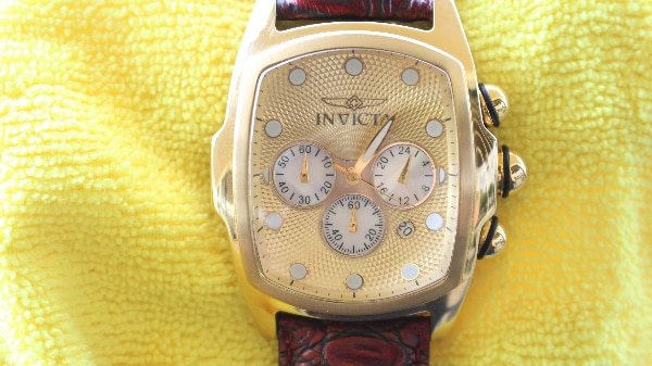 e15bf53b104 Invicta Lupah 14291 Yellow Gold Case   Dial MOP SubDial Red Black Leather  Watch