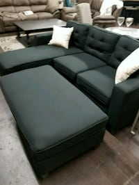 Black fabric sofa chaise sectional for tight space