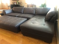 Brown leather sectional couch Boston, 02113