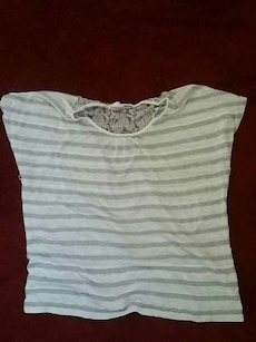 white and gray stripe floral top