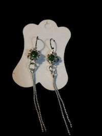 New green and white rhinestone earrings Edmonton, T5S 2B4