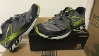 gray, green, black and white salomon athlete shoes and box Fort Washington, 20744