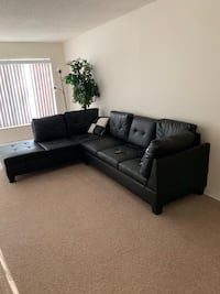 tufted black leather sectional sofa 54 km