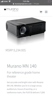 Murano MN 140 projector and Murano MN-72 digital projector screen
