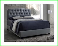 Queen Tufted Bed - Gray Windsor Mill