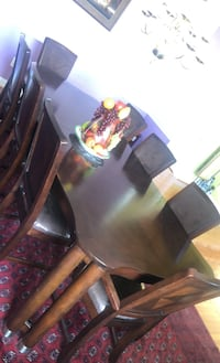 Large mahogany wood dining set. Eight chairs. Gambrills, 21054