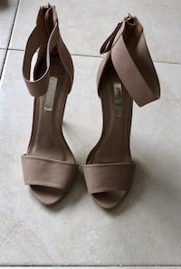 pair of gray leather open-toe heeled sandals Sylvania, 2224