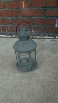 "Mini candle lantern - 8"" tall metal"