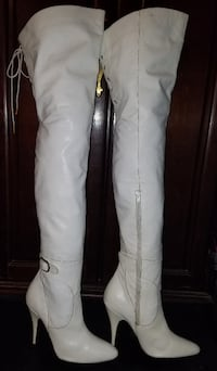 Vintage 80s Sexy White Leather Thigh High Buckle boots Hyattsville