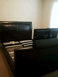 Faux leather queen bed frame with built in tv  Abbotsford, V2S 1Z8
