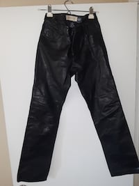 black leather boot cut pants