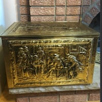 Antique Fireplace Embossed  Brass Firewood Chest Coal Box Decor Vaughan, L4H 2W3