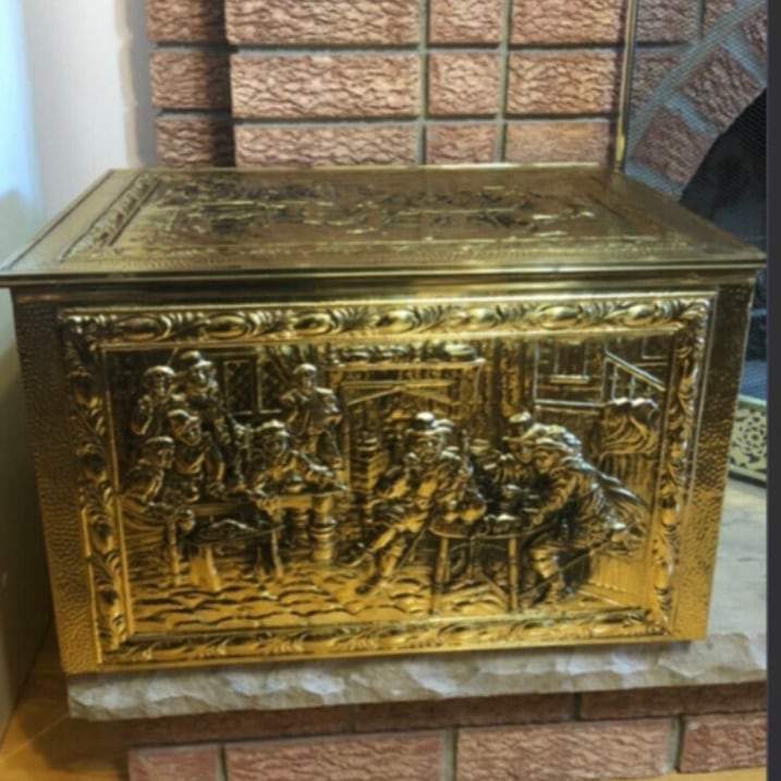 Antique Fireplace Embossed  Brass Firewood Chest Coal Box Decor