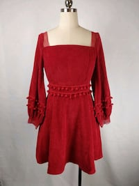 NWT ladies red corduroy dress with pompom size 4-6 Markham, L6C 0L5