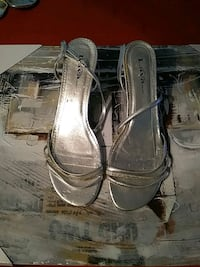 pair of gray leather open toe ankle strap heels Montréal, H8T 1R1