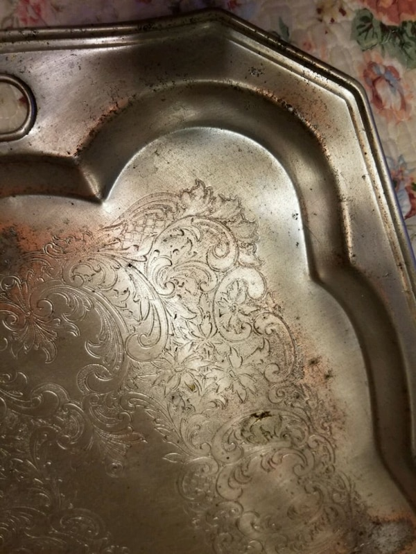 Vintage Silver tone metal etched serving tray 5