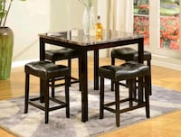 Kinsey 5-Piece Faux Marble-Top Counter Height Tabl Houston, 77036