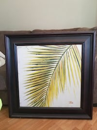 pine tree leaves painting with brown wooden frame