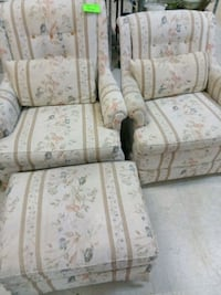 white and brown floral fabric sofa chair Phoenix, 85035