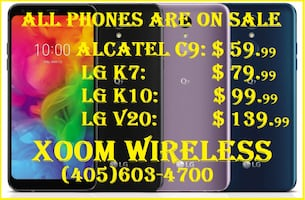 All smart phones & tablets are on sale now. XOOM WIRELESS has the largest selection of smart phones in Oklahoma city, We are an authorized dealer of Verizon, At&t, T-Mobile etc. All our phones come from major carriers. 100% guarantee of imei. Please visit