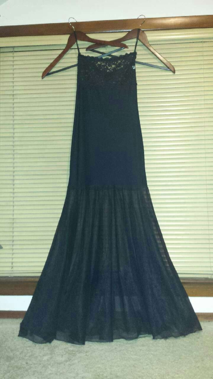 Petite S Fishnet and lace black babydoll gown $15