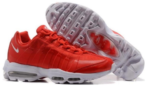 Used Cheap Mens Nike Air Max 95 Ultra Essential Gym Red-White For ... 4b4637a92