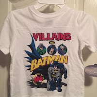 white and multicolored Villains Batman print crew-neck t-shirt boys