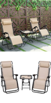New 3 pcs Foldable Portable Zero Gravity Reclining Lounge Chairs Table Set Los Angeles
