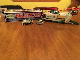 Collectible Hess Helicopter with Motorcycle and Cruiser