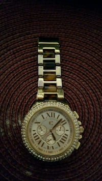 round gold-colored chronograph watch with link bra La Habra, 90631